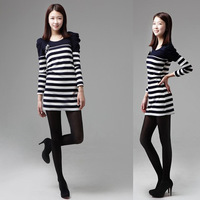 992#Free shipping 2014 new fall and winter women Korean stripes stitching dress lady Puff Sleeve slim casual Dress with Corsage