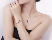 Pure silver 5 oversized quality natural amethyst necklace female pendant girlfriend gifts
