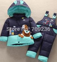 Child down coat girls/boys downcoats set thickening children's clothing baby winter warm clothing set