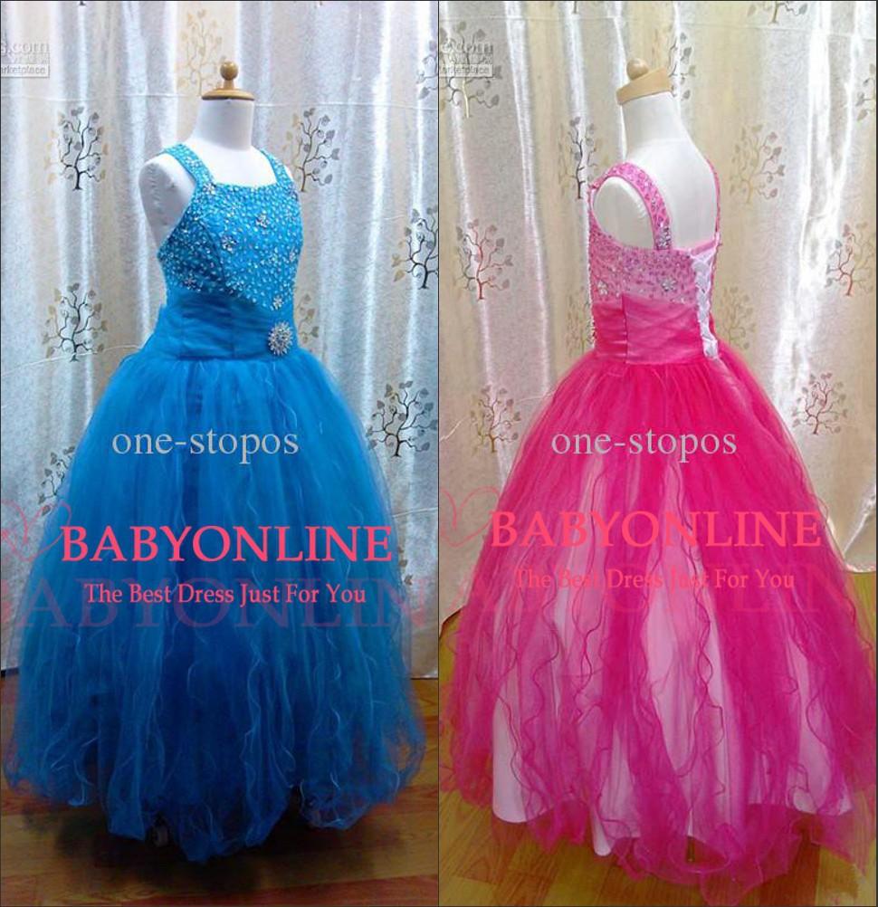 Vestidos De Menina Latest Trend Organza Flower Girl Dress Beaded Bling Blue Ruffles Kids Pageant Gown For Children(China (Mainland))