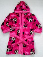 3pcs/lot 2014 new Children/Kid/girls Minnie Coral fleece robe/ bathrobe /sleeping wear/nightwear rope /home wear(4 to 8 years)
