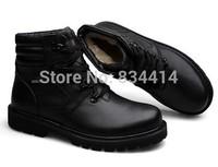 (38-49 )men's wint er boots Noble Quality Genuine leather ankle boots PLus Fur Warm shoes Rubber Bottom Men snow boot