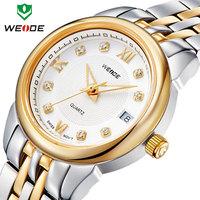 Free shipping 2014 Top sale quartz waterproofing full steel calendar clock fashion causal WEIDE men watches fashion watch brand