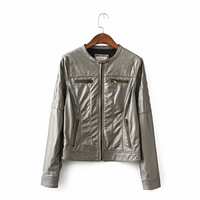 Women's autumn vintage pu jacket gold leather outerwear plus size