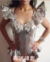 2014 Sexy Flounced Sequined Leotard Shining New Dress DJ DS Custom Good Sale XTZ049