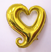 HOT!  Free Shipping 25 Pcs/Lot Gold 24 Inch Hook Heart -Shaped Helium Balloon For Wedding &t Birthday Party