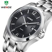 Free shipping fashion causal WEIDE watch quartz movement full steel watches men analog 3ATM calendar wristwatch 1 year guarantee
