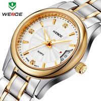 Free shipping WEIDE 2014 luxury brand mens stainless steel watch Japan movement calendar quartz watches relogios 30m waterproof