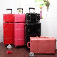 2014 Vintage Trolley Luggage Travel Bag Luggage Female the box 24 22 size PU box 13
