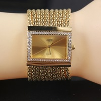 High Quality Gold Luxury Women Watches Rectangle Full Stainless Steel Diamond Women Dress Watches