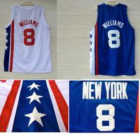 Free Shipping Cheap S-XXL Brooklyn 8 Deron Williams ABA Retro Throwback Basketball Jerseys, Mesh Embroidery Logo Deron Williams