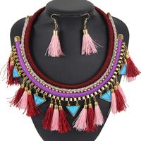 New Fashion Designers Short Choker Necklace Statement Fluorescent Color Tassel Pendant Necklace Earrings Set Jewelry NK709