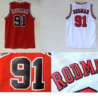 Free Shipping S-XXL Chicago 91 Dennis Rodman Jersey, Cheap Basketball Jerseys Dennis Rodman New Rev 30 Embroidery Logo White Red