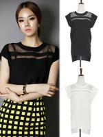Summer New Women Black Tulle Sheer Blouses Shirts Ladies Tops Chiffon Blouse Short Hollow Out Blusas Femininas WF-645