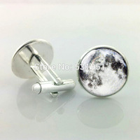 1 Pair Free Shipping Full moon cufflinks - Man cuff links,men cufflinks high quality wedding cufflinks gold