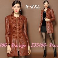 S-XXXL Brand Elegant 3D Applique Patchwork Long Leather Coat Brown PU Jackets 2014 Autumn Winter Plus Size Women Clothing 12949