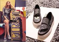 Sequins eys Eyelashes Fashion women Shoes Slip On Platform Flat shoes Hot selling star leisure shoes  Free shipping
