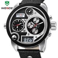 Free shipping 2014 WEIDE Oversized 30 ATM analog sports men watch genuine leather Japan Miyota 2035 quartz watch 1year guarantee