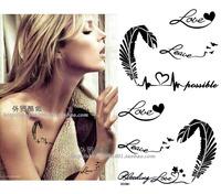 temporary  tattoo sticker / waterproof /tattoo sticker / feather / ECG / English