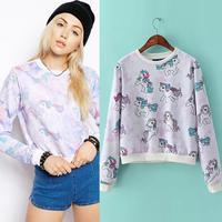 New personalized unicorn pattern ladies long sleeve sweatshirt Europea & America short design casual coat women tops S/M/L 2014