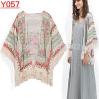 Y057--Hot Sale women  Kimono blouse  Ladies' floral Pattern tassel Cape vintage loose Outwear casual Tops elegant Cape drop ship
