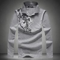 Mens Plus Size Long-sleeve Turn Collar T Shirts Size M-5XL Fashion Novelty Print Big Size Tshirts M-5XL