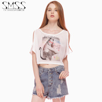 2014 new European and American fashion models SMSS summer round neck strapless cat girl sexy T shirt printing short paragraph