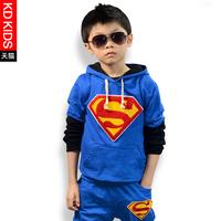 2014 boy spring and autumn child clothing children's twinset male child super man sweatshirt trousers set