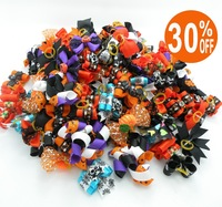 Small Mixed Package!!60PC/Lot Halloween Holiday Pet Handmade Accessories Ribbon Dog Bows Pet Hair Bows Free Shipping