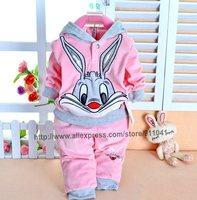 New 2014 autumn Baby Set Velvet Rabbit Cartoon Print Hoodie  Pant Twinset Long Sleeve Velour Baby Clothing Sets Free shipping
