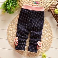 Free shipping Autumn Winter Dot Baby girls cotton plus velvet thick leggings pant,girls trousers,children leggings#Z753
