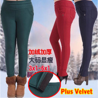 Autumn and winter plus size 3XL-6XL plus velvet  thickening 2014 Women long trousers High Elastic casual high waist pencil pants