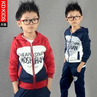 2014 children's clothing male child autumn set child sports clothes sweatshirt twinset