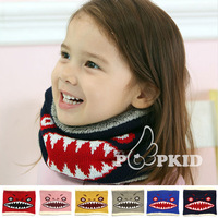 2015 boy and girl's new winter Sharks plus velvet scarf children warm scarf ( six colors )