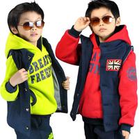Children's clothing female male child winter child sweatshirt piece set thickening sweatshirt outerwear clothes set