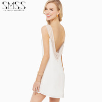 2014 new European and American fashion SMSS double round neck lace halter chiffon dress Connection