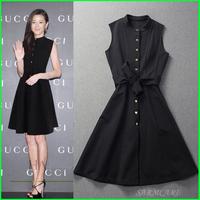 SARMCARE - 2014 New Released Quality Autumn Women Black O-neck Buttons Slim Waist One Piece Dress Star Same Dress Free Shipping