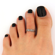 3pcs Celebrity Fashion Simple Retro Flower Design Adjustable Toe Ring Foot Jewelry