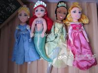 Free Shipping 4pcs/set Disny Princess dolls Sleeping Beauty Aurora/Tiana/Mermaid Ariel princess/Cinderella doll plush toys 30cm