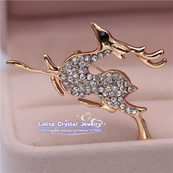 Free Shipping Fashion New 18k Yellow Gold Filled Austrian Crystal Fawn Brooch Pin Jewelry(China (Mainland))