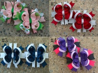 "Free shipping 10pcs/lot 3.5"" Stacked bows with crystal girls Boutique bows hair clips mini hair bows"