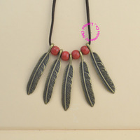 fashion good quality girl woman lady bronze vintage old style retro funny cute feather red bead long leather necklace