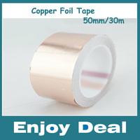 Free Shipping 50MM X 30M Conductive Copper Foil Tape Copper Strip,High Temperature Resistant Tape