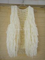 Boho Hippie Fringe Vest Sweater Cardigan Sleeveless White Crochet Top