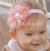 Vintage Lace Flower Baby Headbands Infant Toddler Hair Bands Rhinestone Girls Flower Headbands 24PCS