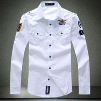 M-4XL New Men Dress Shirts Airforce Military Uniform Long Sleeve Shirts Brand Male Embroidery Army shirt A99