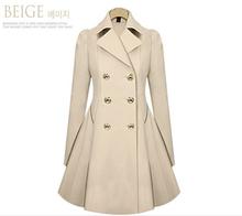 free Hot commuter  2014 women's Windbreaker slim medium-long blend wool coat big yards Stars Double-breasted coat S-XXL Jacket(China (Mainland))