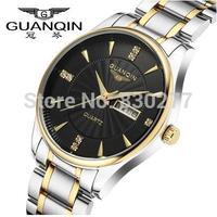 Guanqin  Among men gold black plate steel quartz watch waterproof luminous