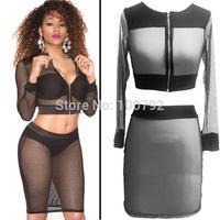 New Sexy Fishnet Two Piece Set  Zipper Dress Celebrity Summer Fashion 2014  Crop Top Lace Dress