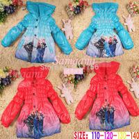 2014 winter outerwear frozen Anna elsa girls long sections cotton-padded child baby thicker fleece warm coat windbreak jacket